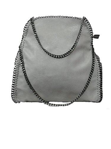 Anush Handtasche VIVIEN Lederlook Damen Schultertaschen mit Kette (HL Grau 02)
