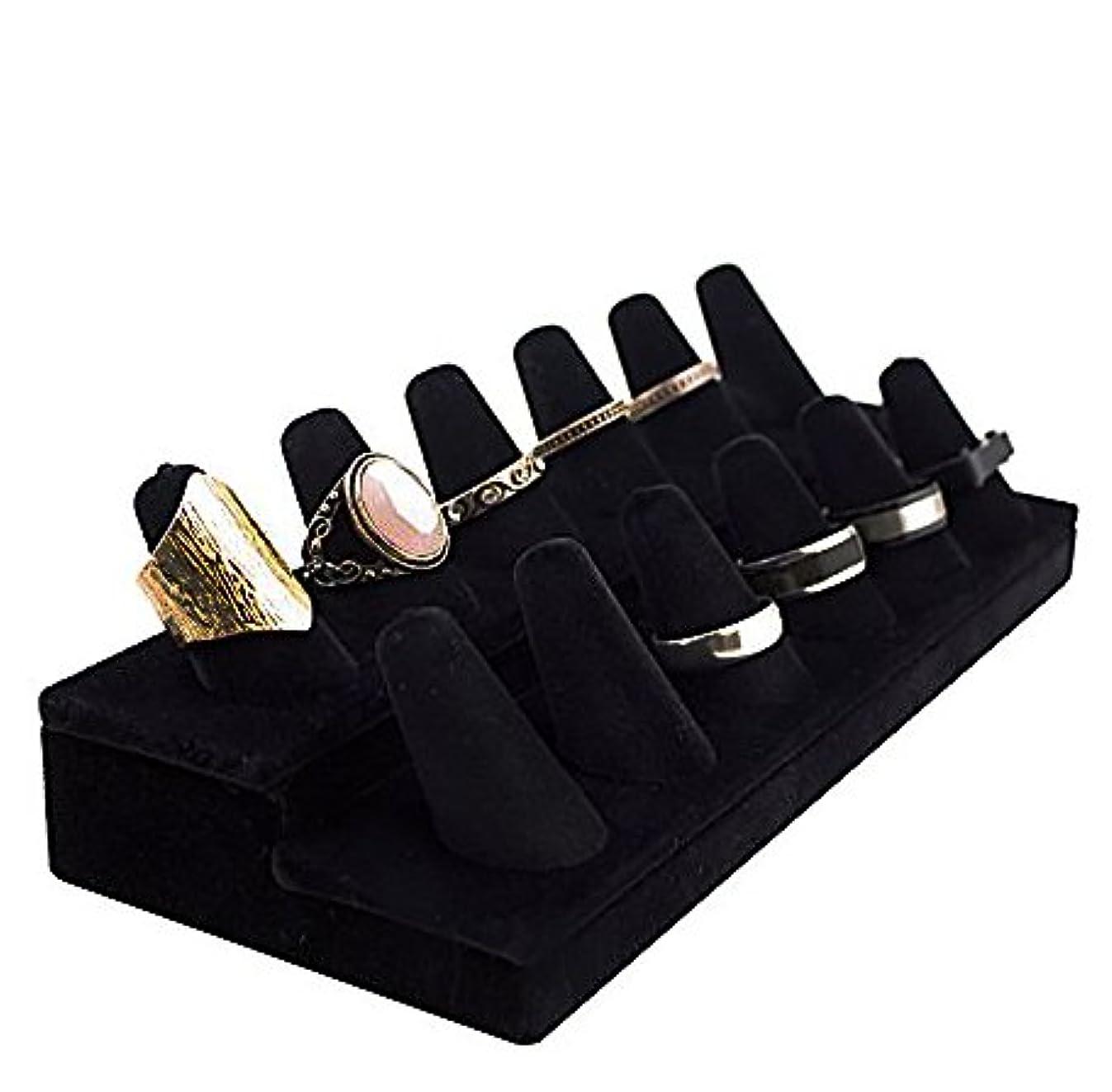 Adorox Black Velvet Finger Ring Showcase Display Jewelry Organizer Stand