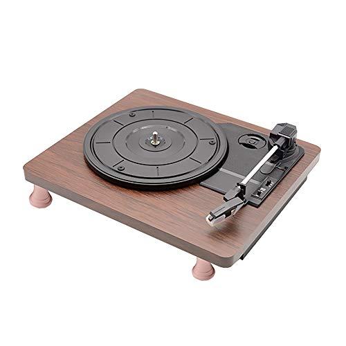 Beirich Riemenantrieb 3-Speed Stereo Plattenspieler mit integrierten Lautsprechern, Unterstützt Vinyl zu MP3-Aufnahme, USB-MP3-Wiedergabe und RCA-Ausgang, Natural Wood