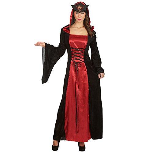 Elbenwald Regina della Notte - Costume da Donna per Travestimento - Vestito con Allacciatura Incrociata Anteriore e Cappuccio - Carnevale e Halloween - Rosso/Nero - 40/42