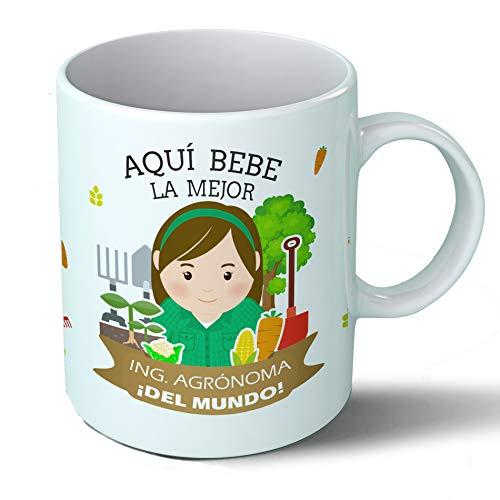Planetacase Taza Desayuno Aquí Bebe la Mejor ingeniera agrónoma del Mundo Regalo Original agrónomos Ceramica 330 mL