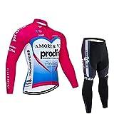 Maillots de Ciclismo para Hombre, Manga Larga, Winter Racing Club, Amore & Vita Fleet Pink, Outdoor Road Bike Anti-UV MTB Cycling Pro Trajes, Classic Cycle Sportswear (Size : Medium)