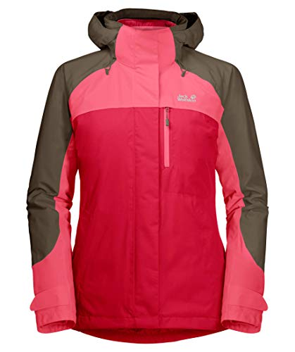 Jack Wolfskin Whitney Peak 3In1 Giacca, Donna, Clear Red, XS