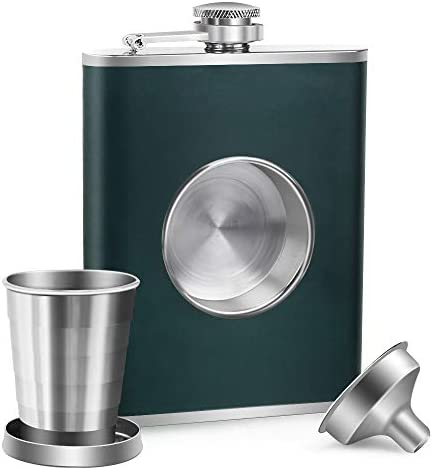 KWANITHINK Flasks for Liquor for Men Stainless Steel Shot Flask 8 oz with 2 oz Collapsible Shot product image