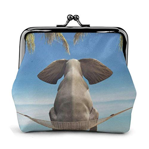 Dondolo tropicale elefante cuoio cuoio squisita fibbia portamonete portamonete sacchetto vintage classico porta-bacio cambio portafogli regalo