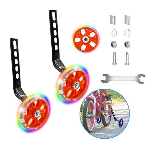 Happylohas Ruota di Allenamento per Bicicletta per Bambini, rotelle Bici Bambino con luci a LED, stabilizzatore rotelle, rotelle Laterali, per Tutte Le Bici da 12-20 Pollici ((1 Paio-Rosso))
