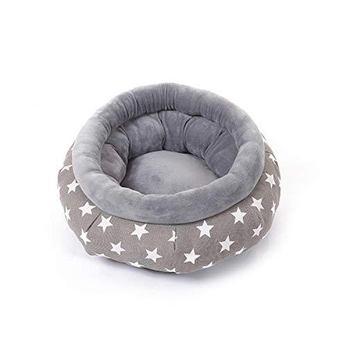 pet-beds 10 Colors Round Deep Gentle Pet Nest Soft Plush Dog House Puppy Pad Puppy Cat House Winter Warm Pet Supplies-Grey1-M 50x25cm