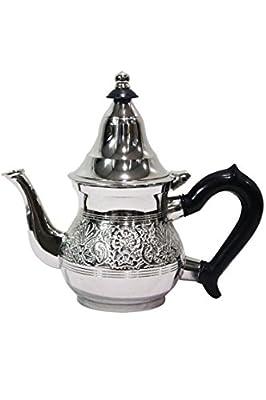 Théière marocaine en laiton Eldina argenté avec filtre | cafetière orientale avec couvercle et poignée en plastique | Décoration de Salon de Maison en Design indien marocain
