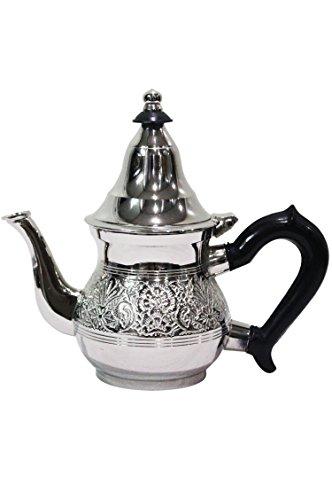 Marokkanische Teekanne aus Messing versilbert 0,2l mit Sieb und Kunststoffgriff | Orientalische Kanne Eldina 200ml silberfarbig mit Deckel (200ml)