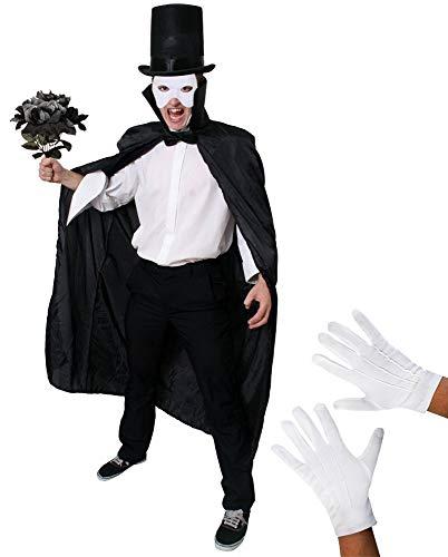 I LOVE FANCY DRESS LTD Disfraz DE Fantasma DE LA Opera para Adultos Conjunto TEMATICO DE 6 Piezas con MASCARILLA Blanca Y Sombrero Alto (58CM)