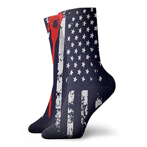tyui7 Calcetines personalizados de la bandera americana de Lacrosse Medias deportivas coloridas y frescas para hombres y mujeres