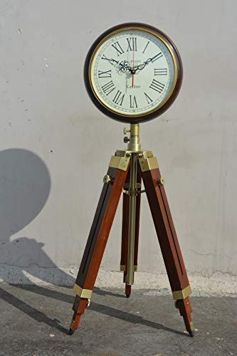 Nautical India Wooden Floor Clock with Antique Finish Stand Vintage Style Industrial Tripod Floor Clock