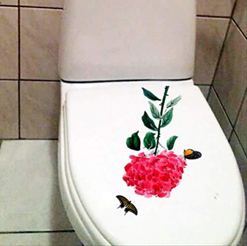 Autocollant De Siège De Toilette Peinture Chinoise Encre Hortensia Wc Décor Stickers Classic Home Wall Room 15.6 * 22.4Cm