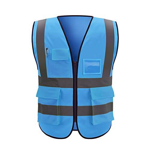 DBL Reflektierende Sicherheitsweste Mehrfach-Arbeitskleidung Warnschutzweste Reisen bei Nacht Sicherheit Unisex Sicherheitswesten (Color : Blue, Size : XL)