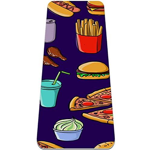 Tappetino Yoga Fitness,Pizza French Patatine fritte Hamburger Ketchup Donut ,Extra-Spessa Antiscivolo Yoga Mat,Materiale TPE, Casa, Professionale Palestra Allenamento Meditazione Pilates