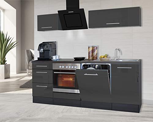 respekta Küchenzeile Küche Küchenblock Einbauküche Hochglanz 220 cm Eiche (Grau)
