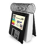 Taco de notas libreta pequeña hecha con disquetes de 3.5 - Bloc notas de 100 hojas blancas, floppy disk, diseño Grunge regalo friki informático retro vintage, reciclado hecho a mano tamaño 9x8,5 cm