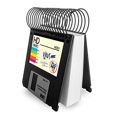 Taco de notas libreta pequeña hecha con disquetes de 3.5 - Bloc notas de 100 hojas blancas, floppy disk, diseño Grunge regalo friki informático retro vintage, reciclado hecho a mano tamaño 9x8