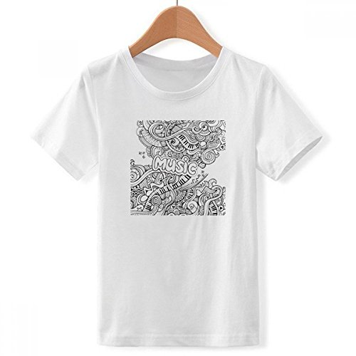 DIY thinker jongens viool rockmuziek winding schilderij met ronde hals wit T-shirt