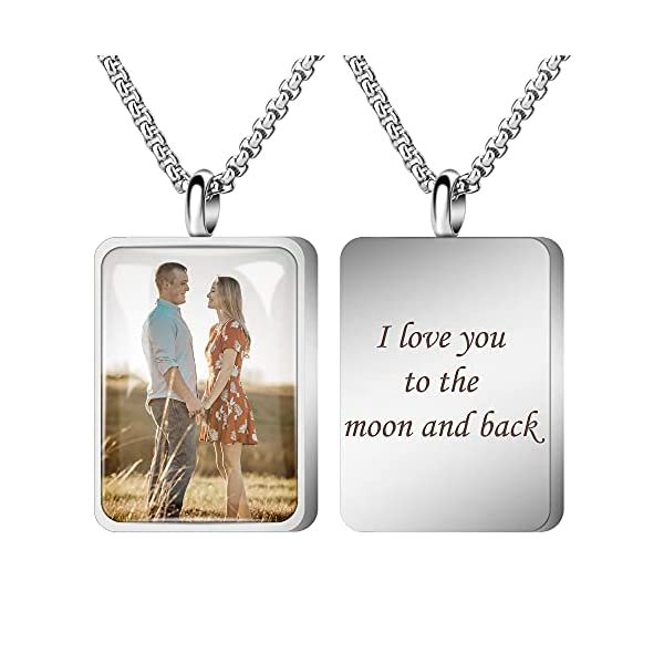 Fanery Sue Personalized Photo Cremation Urn Necklace for Ashes Custom Engraving Pendant Memorial Keepsake Jewelry with Filling Tool(Rectangle- Silver)