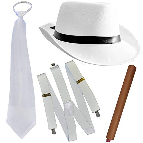 German Trendseller® - Mafia - Kostüm - Set - Deluxe ┃ Gangster Weiss ┃ 20er Jahre ┃ Al Capone Hut + Krawatte + Hosenträger + Zigarre ┃ Mafiosi Boss ┃ Karneval / Fasching