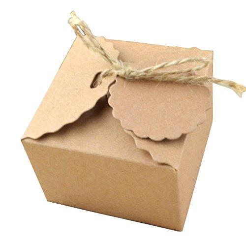 knowing 50 Pezzi Kraft Scatole Regalo Vintage Scatole Cubo Portaconfetti Vintage Carta Kraft Candy Scatole Regalo per la Festa Nuziale Regalo di confezionamento Gift Candy Marrone (Corda di Iuta)