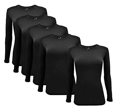 M&M Scrubs Long Sleeve T-Shirt Under Scrub Top-Super Soft and Stretchy, Multi Pack of 5 (5 Pack Black, Medium)