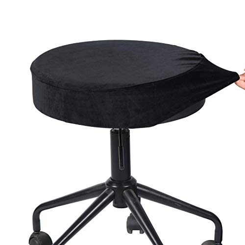 SINOSSO Velvet Round Bar Stool Covers Soft Slipcover with Elastic to Protect Upholstered Furniture(Dia.11-13', Black)