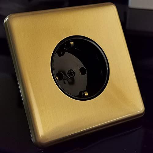 Golden Type 86 Enchufe Europeo Panel De Acero Inoxidable Color De Cobre Retro Estándar Europeo 16A Con Doble USB Enchufe Alemán Enchufe Único De Doble Orificio Panel De Acero Inoxidable Cepillado