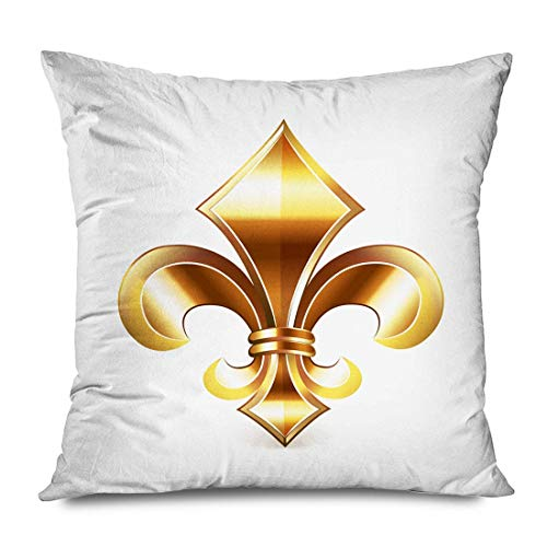 iksrgfvb Throw Pillow Cover 45x45CM Yellow French Fleur De Lis Insignia Floral Elegant Coat Medieval France Iris Lily Classi