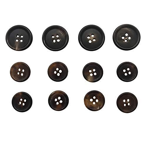 12 pcs Genuine Horn Blazer Suits Button Set for Blazer, Suits, Sport Coat, Uniform, Jacket,Brown,Q355