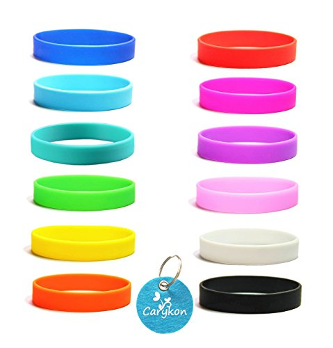 Carykon 12 Pcs Blank Silicone Wristbands Rubber Bracelets Adults Fashion Party Sports Accessories Assorted 12 Colors