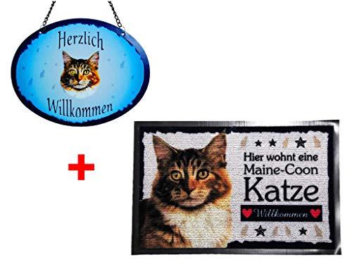 Pfronten-Schmuck Set Fußmatte + Türschild Katze Main Coon, Türmatte, Türvorleger, Türschild