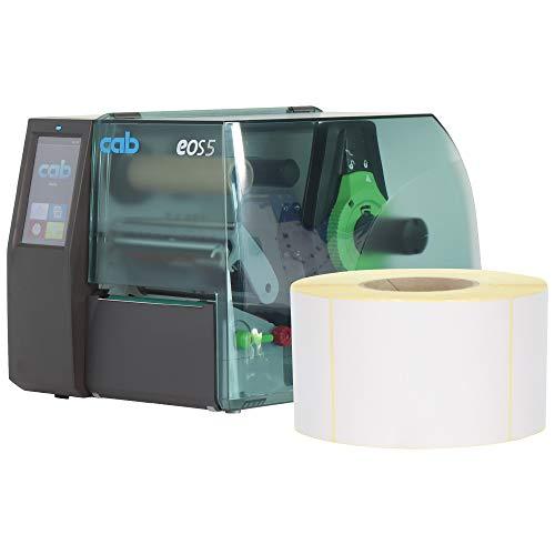 Labelident Starterset - Cab EOS5 Etikettendrucker mit Abreißkante inkl. 12000 Etiketten (100 x 150 mm) auf 12 Rollen, 300 dpi - Thermotransfer- und Thermodirektdruck