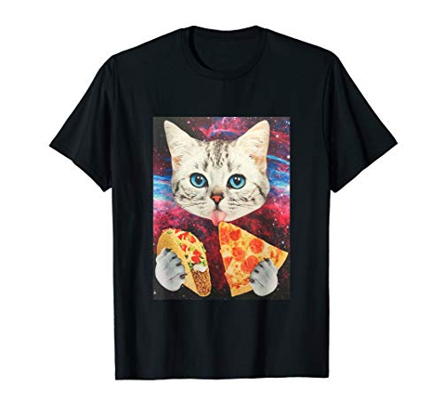 Funny Cute Outer Space Galaxy Cat Meme Pizza Taco...