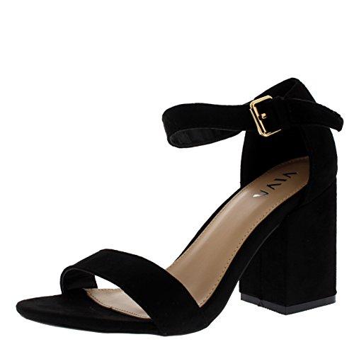 Mujer Ancho Medio Bloquear el Talón Ante Correa de Tobillo Casual Zapato Sandalias - Negro KL0298P 7UK/40