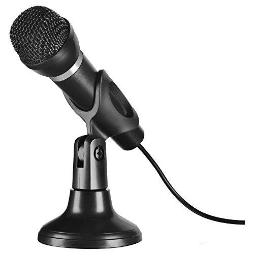 Speedlink CAPO bureau- en handmicrofoon - tafel- en handmicrofoon - uitstekende geluidskwaliteit voor stem- en stemopnames, zwart