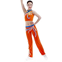 Handmade Sleeveless Top & Pant In Orange With Blue Sequins Gymnastics Suit