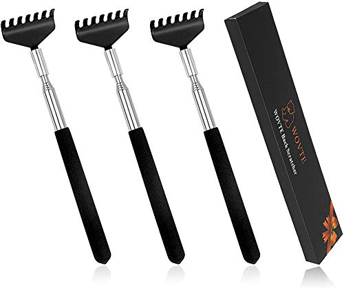 Back Scratcher, WOVTE 3 Pack Black Portable Extendable Stainless Steel Telescoping Back Massager for Adults Men Women Itch Relief (7.87 to 26.77 Inch)