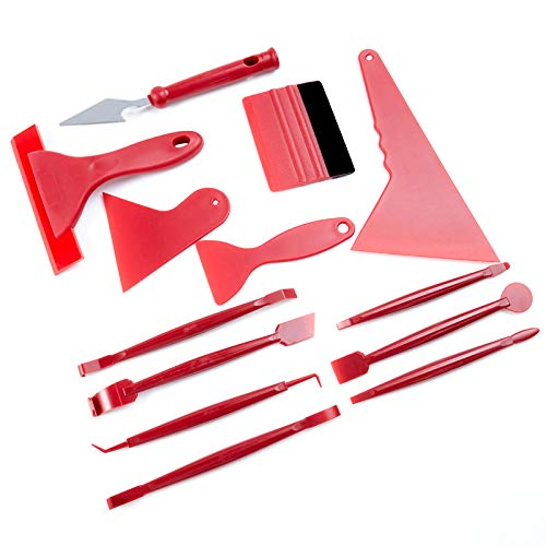 QISF 13 Stück Auto Folierung Set,Folierungs Werkzeug Rakel Auto folie Tönungsfolie mit Präzisionsmesser Folienrakel für Autofolierung Installation