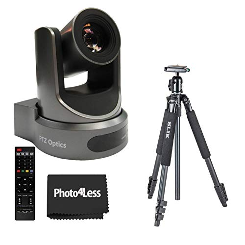 PTZOptics 30X-SDI Gen 2 1080p Resolution Live Streaming Broadcast Camera, Gray + Slik Sprint Aluminum Tripod with SBH-150DQ Ball Head- Live Streaming Camera