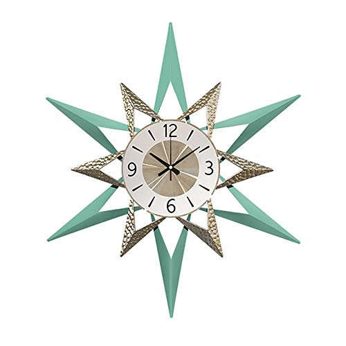European Style Wall Clock, Creative Metal decoratieve Opknoping Clock Indoor Silent wandklokken for Bedroom Living Room Hotel batterijen gevoede (Color : Blue, Size : 22 * 80cm)
