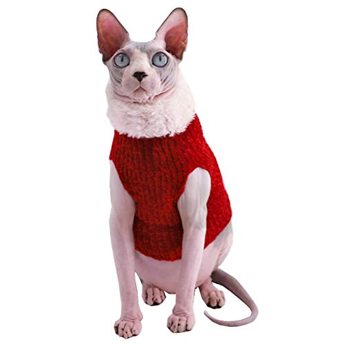 Sphynx Cat Clothes Winter Warm Faux Fur Sweater Outfit, Fashion high Collar Coat for Cats Pajamas for Cats and Small Dogs Apparel, Hairless cat Shirts Sweaters (L (7.7-9.9 lbs), Christmas Wine)