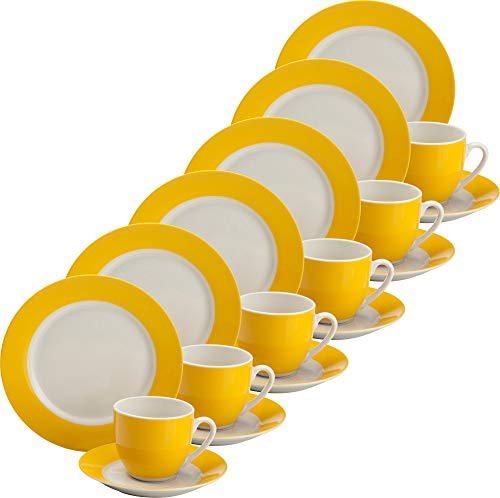 Erwin Müller Kaffeeservice für 6 Personen, 18-TLG, Serie Roma gelb Größe Kaffeetasse 210 ml, Dessertteller Ø 20 cm - spülmaschinenfest, mikrowellengeeignet, Kaffeetasse, Untertasse, Dessertteller