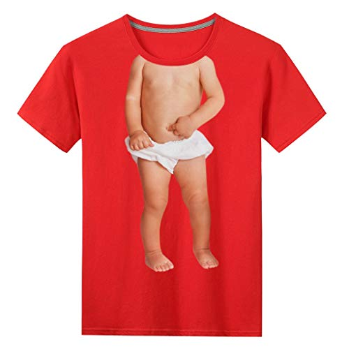 Realde Damen Herren Kurzarm Top Mode Funny Baby Drucket Regular Fit T-Shirt Freizeit Sport Rundhals Ausschnitt Atmungsaktiv Jogging Gym Fitness Blusen für Oberteile