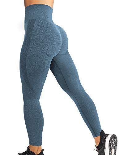 YEOREO Women High Waist Workout Gym Smile Contour Seamless Leggings Yoga Pants Tights Blue M