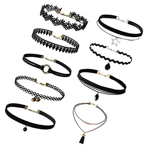 HEALLILY 9 Piezas de Collares de Gargantilla Conjunto Clásico Gótico Collar Gargantilla Ajustable Cuero Encaje Punk Choker para Chicas Adolescentes Y Mujeres