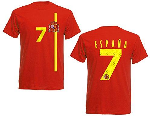 Spanien España Herren T-Shirt Nummer 7 Trikot Fußball Mini EM 2016 T-Shirt - S M L XL XXL - rot NC ST-1 (XXL)