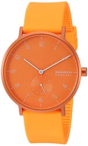 Skagen Unisex Erwachsene Analog Quarz Uhr mit Silikon Armband SKW6558