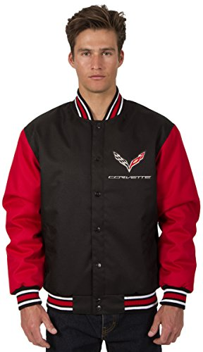 JH DESIGN GROUP Mens Chevy Corvette Poly-Twill Jacket with Embroidered Emblems (Large, Black-Red)